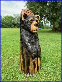 Chainsaw Carved BEAR in a LOG Carving Cabin Decor Rustic Log Wood Sculptures