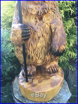 Chainsaw Carved Bear withSolar Lantern WHITE PINE Wood Carving Sculpture Log Home