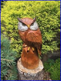 Chainsaw Carved Horned Owl CHERRY WOOD Sculpture Carving Log Home Folk Art Decor