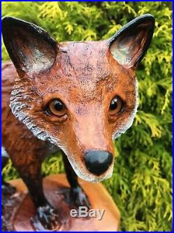 Chainsaw Carved RED FOX Sculpture CHERRY WOOD home/garden decor REALISTIC