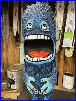 Chainsaw Carved SCREAMING MONSTER DUDE Sassafras Wood, ORIGINAL Art Sculpture