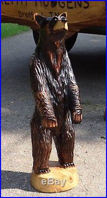 Chainsaw Carved Standing Bear One of a Kind Bald Cypress wood Art Sculpture