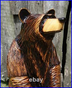 Chainsaw Carved Standing Bear Rustic Decor. Hand Made Wood Carved Bear Sculpture