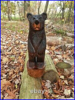 Chainsaw carved handmade wood bear sculpture statue figure carving
