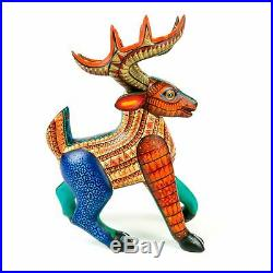Cheerful Deer Oaxacan Alebrije Wood Carving Mexican Folk Art Sculpture