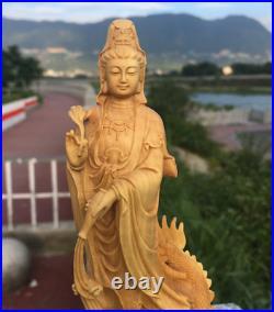 Chinese Boxwood Wood Carving Guan Yin Ride Dragon Goddess Bodhisattva Statue