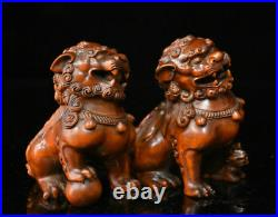 Chinese Boxwood Wood Hand-Carved Fengshui Foo Fu Dog Guardion Lion Statue Pair