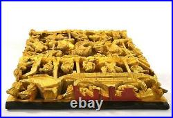 Chinese Gilt Lacquer Wood Panel Plaque Deep Carving Warriors Battle Scene 64CM
