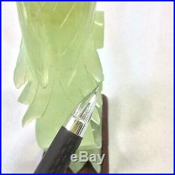Chinese Jade Green Carved Bird Figurine Sculpture Fitted Wood Stand Vtg 8 5/8h