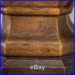 Christ Bust Sculpture Sacred Heart of Jesus Statue Antique Signed Carved Wood