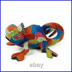 Colorful Chameleon Oaxacan Alebrije Wood Carving Sculpture Eleazar Morales