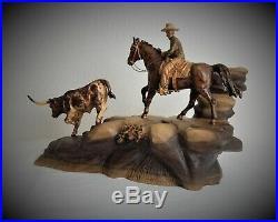 Cowboy And Steer Original Wood Carving Sculpture By Joan Kosel