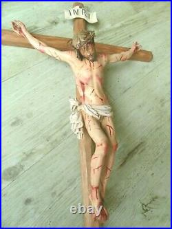 Cross woodcarving, Jesus Christus, Holzgeschnitztes Kreuz, Kruzifix Passion