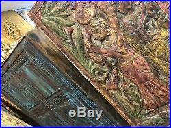 Custom BOHO CARVED WOOD BARN DOOR RUSTIC VINTAGE SOHO ECLECTIC WALL SCULPTURE