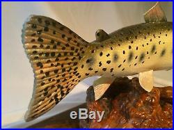Cutthroat Trout Wood Carving Art Sculpture Vintage Hand Carved Fish Fishing