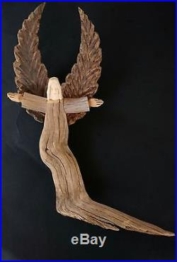 David Alvarez Angel Drift Wood Carved Sculpture Signed
