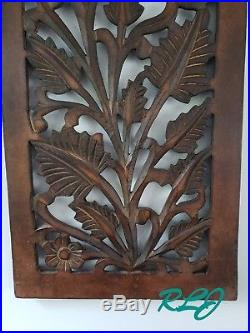 Decorative Brown Tuscan Scrolling Carved Wood Wall Panel Sculpture Home Decor