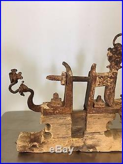 Decorative Forged Ironwork Italian Carved Wood Griffins Dragon Castle