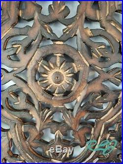 Decorative Rustic Cutout Lattice Carved Scrolling Dark Wood Set/2 Wall Panels