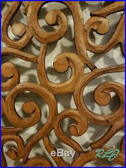 Decorative Rustic Scrolling Brown Carved Wood Wall Art Plaque Sculpture Decor