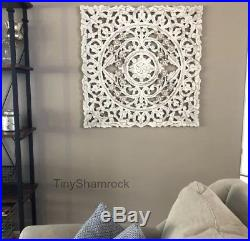 Decorative Wall Art Square Wood Panel Boho Chic Floral Scroll 36 Carved Gray
