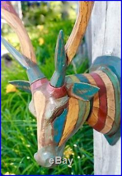 Deer Head Vegan taxidermy Mount Wall Sculpture Carved Wood Boho Chic Bali art