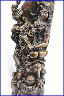 Dewi Ratih Moon Goddess Kala Rau Demon Sculpture Balinese Myth Wood Carving Art