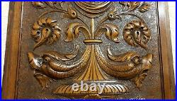 Dolphin flower scroll leaves carving panel Antique french architectural salvage