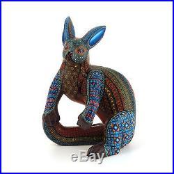 ELEGANT DOG Oaxacan Alebrije Wood Carving Mexican Folk Art Sculpture Painting