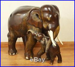 ELEPHANT and BABY Sculpture/Statue, Wood/Wooden, Hand Carved, Large