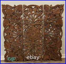 Elegant Ornate Scrolling Carved Wood Set/3 Balinese Wall Panels Sculpture Decor