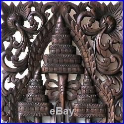 Elephant 3 Heads New Wood Carving Home Wall Panel Mural Decor Art Statue gtahy