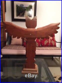Eric Williams Pacific Northwest Superb Wood Totem Pole Carving Sculpture