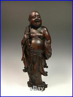 Exquisite Qing Dynasty Chinese Antique Wood Carving of Happy Buddha Hotei