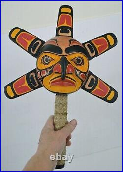 FIRST NATION STYLE CEREMONIAL SUN RATTLE withRAYS CANADIAN ABORIGINAL STYLE