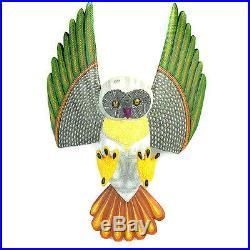 FLYING OWL Oaxacan Alebrije Wood Carving Handcrafted Mexican Folk Art Sculpture