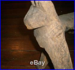 FOLK ART Outsider primitive artist Animal Carved Cat wood sculpture