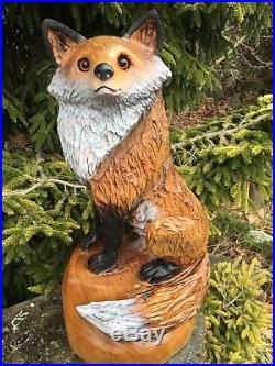 Fox chainsaw carving cherry wood sculpture dog carvings log home