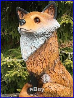 FOX Chainsaw Carving CHERRY WOOD Sculpture Dog Carvings Log Home Decor UNIQUE