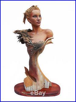 Feather Wave Original Rick Cain Wood Carving Woman Raven & Water Sculpture 2014