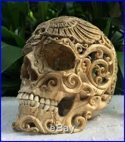 Filigree Hand Carved Copper Sculpture Wood Human Skull Realistic flexible Jaws