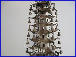 Fine Old Chinese Scholar Sculpture Sterling Silver And Wood Carving Temple Bells