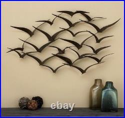 Flock of Birds Metal Wall Art Sculpture 3-D Seagulls Textured Bronze Finish