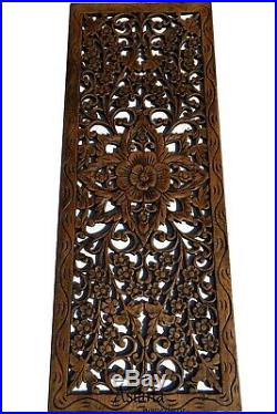 Floral and Sawadee Greeting Carved Wood Wall Art Panel. Asian Home Decor Set of 3