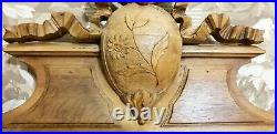Flower bow ribbon wood carving pediment Antique french architectural salvage