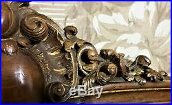 Flower scroll leaf shell carving pediment Antique french architectural salvage
