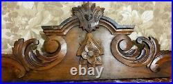 Flower scroll leaf wood carving pediment Antique french architectural salvage