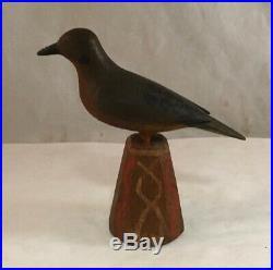 Folk Art Carved Polychrome Painted Wood Bird Statue Sculpture Carving Aafa