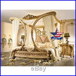 Four-poster bed Carved wood furniture artwork sculpture picture icon decor 3d