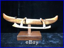 Francis Pimmel Carved Hawaiian Koa Wood Canoe Outrigger Hawaii Sculpture
